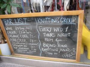 I Knit London Bar Menu