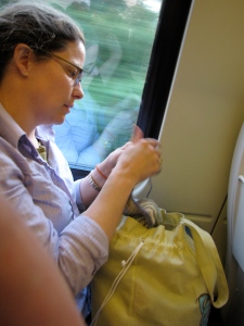Knitting on the train to Wolverhampton.