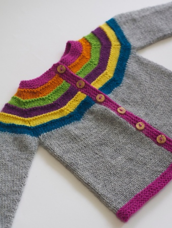 Right as Rainbow Baby Cardigan. Photo © Stephanie Lotven.