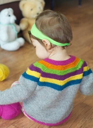 Right as Rainbow Baby Cardigan. Photo © Stephanie Lotven.